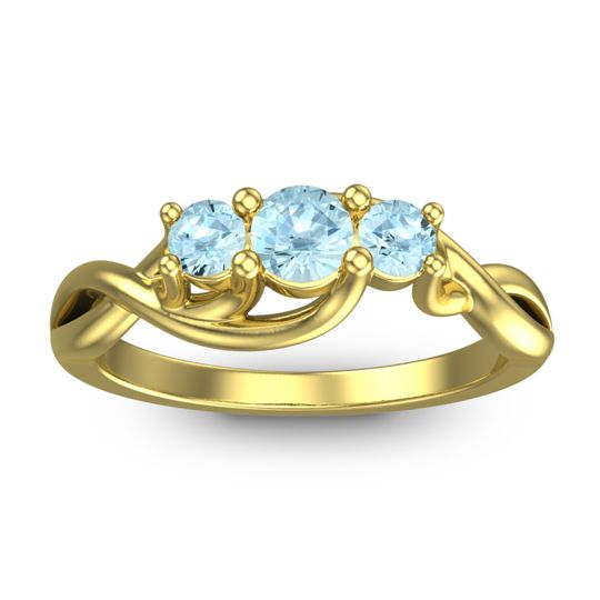 Aquamarine Petite Vitana Ring in 18k Yellow Gold