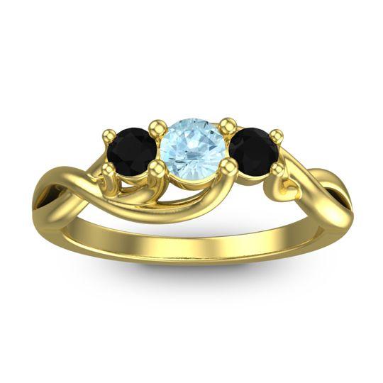 Aquamarine Petite Vitana Ring with Black Onyx in 18k Yellow Gold