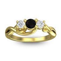 Black Onyx Petite Vitana Ring with Diamond in 18k Yellow Gold