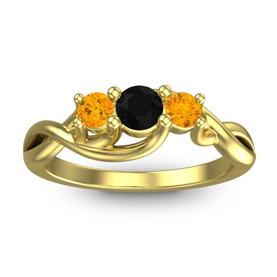 Black Onyx Petite Vitana Ring with Citrine in 18k Yellow Gold