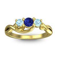 Blue Sapphire Petite Vitana Ring with Aquamarine in 14k Yellow Gold