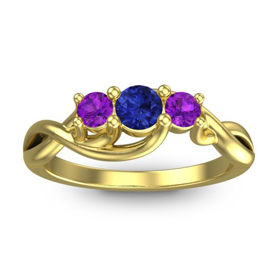 Blue Sapphire Petite Vitana Ring with Amethyst in 14k Yellow Gold
