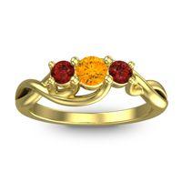 Citrine Petite Vitana Ring with Garnet in 18k Yellow Gold
