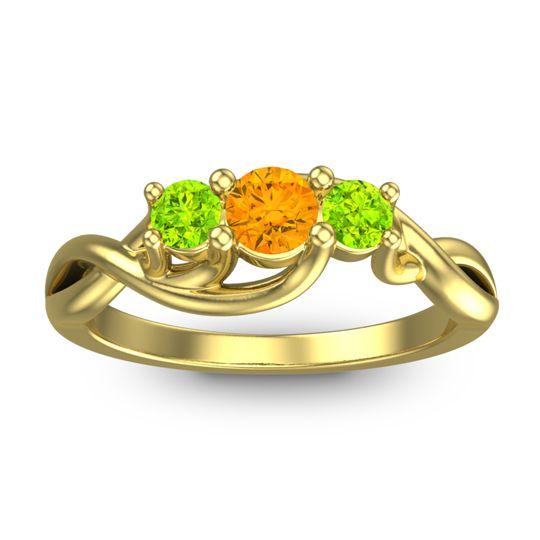 Citrine Petite Vitana Ring with Peridot in 18k Yellow Gold