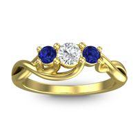 Petite Vitana Diamond Ring with Blue Sapphire in 18k Yellow Gold