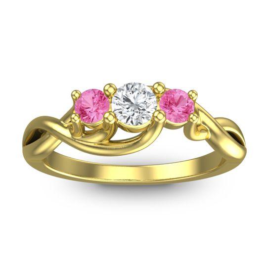 Diamond Petite Vitana Ring with Pink Tourmaline in 18k Yellow Gold