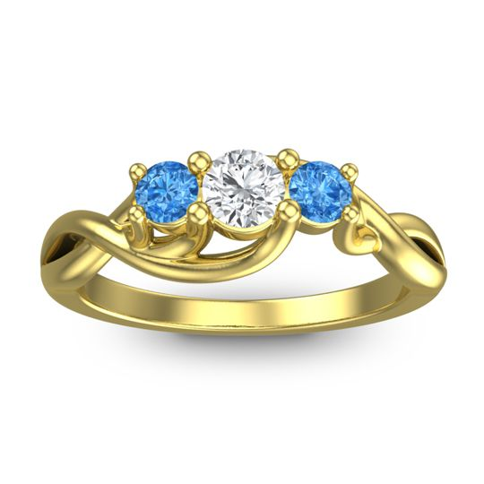 Diamond Petite Vitana Ring with Swiss Blue Topaz in 18k Yellow Gold