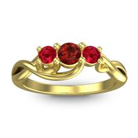 Garnet Petite Vitana Ring with Ruby in 18k Yellow Gold