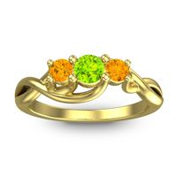 Peridot Petite Vitana Ring with Citrine in 18k Yellow Gold