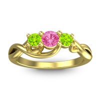 Pink Tourmaline Petite Vitana Ring with Peridot in 14k Yellow Gold