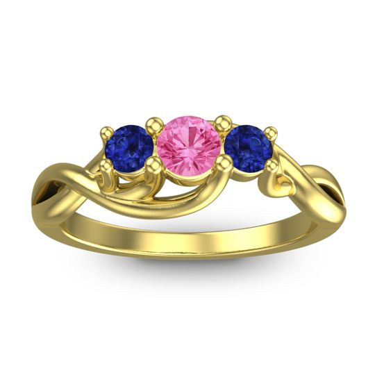 Pink Tourmaline Petite Vitana Ring with Blue Sapphire in 14k Yellow Gold