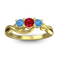 Ruby Petite Vitana Ring with Swiss Blue Topaz in 14k Yellow Gold