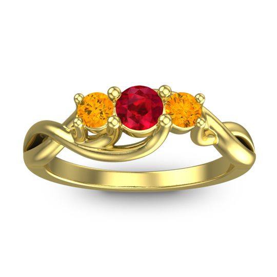 Ruby Petite Vitana Ring with Citrine in 18k Yellow Gold