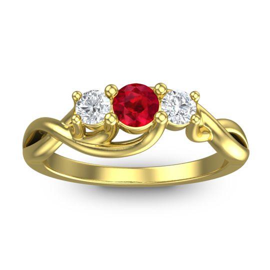 Ruby Petite Vitana Ring with Diamond in 18k Yellow Gold
