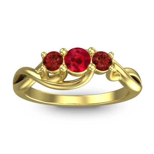Ruby Petite Vitana Ring with Garnet in 14k Yellow Gold