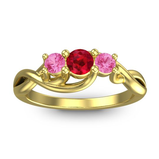 Ruby Petite Vitana Ring with Pink Tourmaline in 14k Yellow Gold