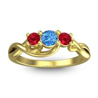 Swiss Blue Topaz Petite Vitana Ring with Ruby in 14k Yellow Gold