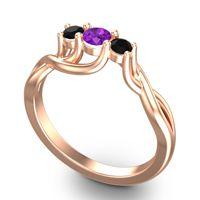 Petite Vitana Amethyst Ring with Black Onyx in 18K Rose Gold