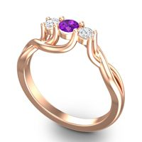 Amethyst Petite Vitana Ring with Diamond in 14K Rose Gold