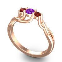 Amethyst Petite Vitana Ring with Garnet in 18K Rose Gold