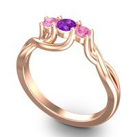 Amethyst Petite Vitana Ring with Pink Tourmaline in 18K Rose Gold