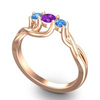 Amethyst Petite Vitana Ring with Swiss Blue Topaz in 14K Rose Gold