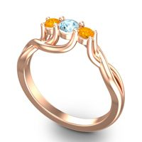 Aquamarine Petite Vitana Ring with Citrine in 14K Rose Gold