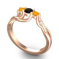 Black Onyx Petite Vitana Ring with Citrine in 14K Rose Gold
