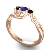 Blue Sapphire Petite Vitana Ring with Black Onyx in 14K Rose Gold