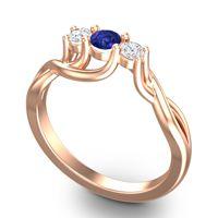Blue Sapphire Petite Vitana Ring with Diamond in 14K Rose Gold