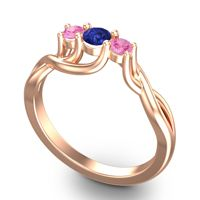 Blue Sapphire Petite Vitana Ring with Pink Tourmaline in 14K Rose Gold
