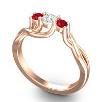 Diamond Petite Vitana Ring with Ruby in 14K Rose Gold