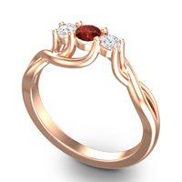 Petite Vitana Garnet Ring with Diamond in 14K Rose Gold