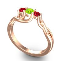 Peridot Petite Vitana Ring with Ruby in 14K Rose Gold