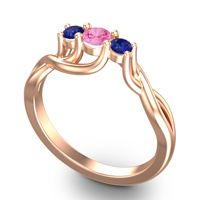 Pink Tourmaline Petite Vitana Ring with Blue Sapphire in 14K Rose Gold