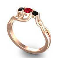 Ruby Petite Vitana Ring with Black Onyx in 14K Rose Gold