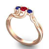 Ruby Petite Vitana Ring with Blue Sapphire in 14K Rose Gold