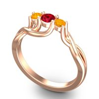 Ruby Petite Vitana Ring with Citrine in 18K Rose Gold