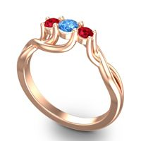 Swiss Blue Topaz Petite Vitana Ring with Ruby in 14K Rose Gold