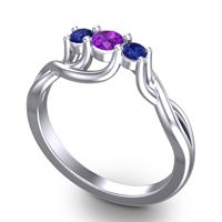 Amethyst Petite Vitana Ring with Blue Sapphire in 14k White Gold