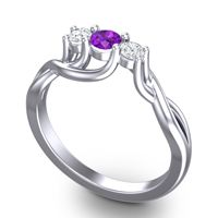 Petite Vitana Amethyst Ring with Diamond in 14k White Gold