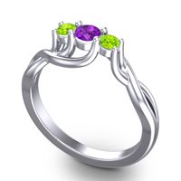 Amethyst Petite Vitana Ring with Peridot in 18k White Gold
