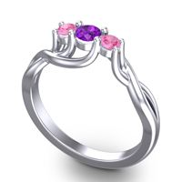 Amethyst Petite Vitana Ring with Pink Tourmaline in 18k White Gold