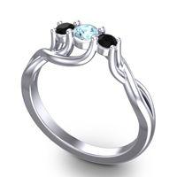 Aquamarine Petite Vitana Ring with Black Onyx in Platinum