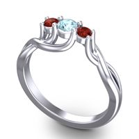 Aquamarine Petite Vitana Ring with Garnet in Palladium