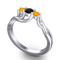 Black Onyx Petite Vitana Ring with Citrine in Palladium