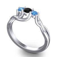 Black Onyx Petite Vitana Ring with Swiss Blue Topaz in Palladium
