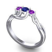 Blue Sapphire Petite Vitana Ring with Amethyst in Platinum