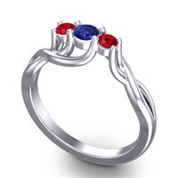 Blue Sapphire Petite Vitana Ring with Ruby in Platinum
