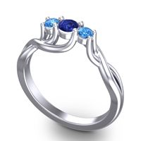 Blue Sapphire Petite Vitana Ring with Swiss Blue Topaz in Palladium